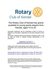 Grants available to young sports players from Kendal, aged 14 to 24