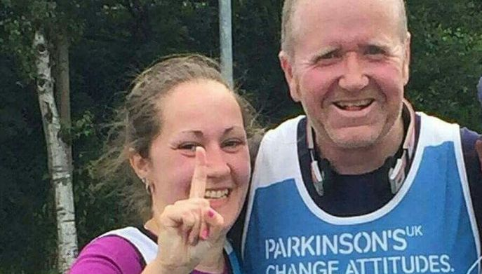 Picture of David Little from Carlisle Parkinsons and his daughter finishing the X-Border Challenge
