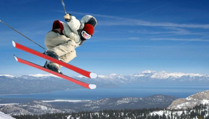 Winter Olympics skiing jump