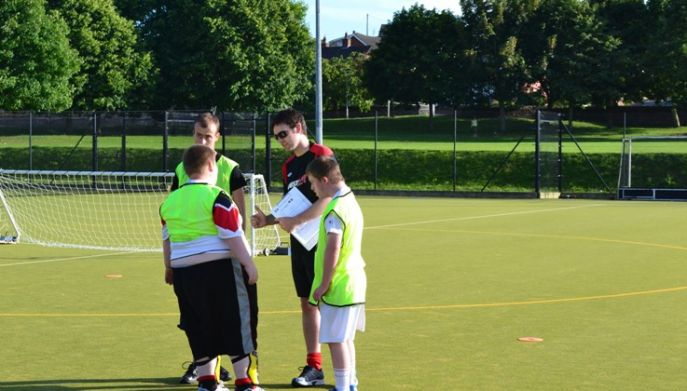 disabled footballers getting a team talk